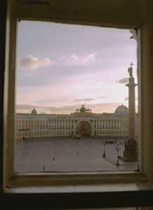 St. Petersburg's Winter Palace is seen through a window of  				The Hermitage Museum.